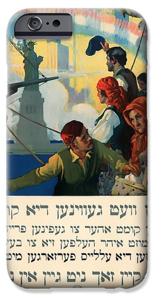 1910s Poster Art iPhone Cases - Vintage Yiddish World War I Poster 1917 iPhone Case by Mountain Dreams