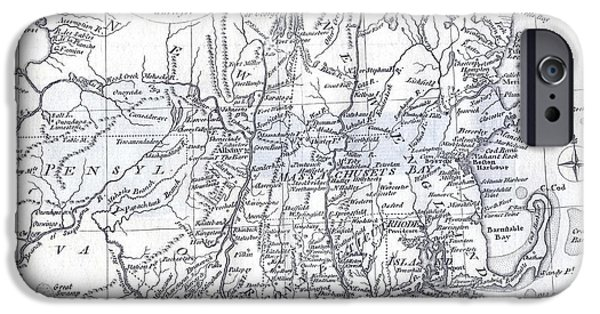 Cape Cod Mixed Media iPhone Cases - Vintage 1778 New England Map iPhone Case by Dan Sproul