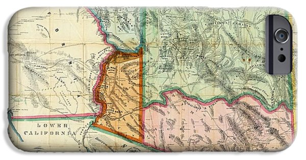 Grand Canyon Mixed Media iPhone Cases - Vintage 1865 Arizona Territory Map iPhone Case by Dan Sproul