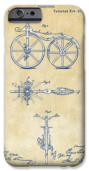 Independence Digital Art iPhone Cases - Vintage 1866 Velocipede Bicycle Patent Artwork iPhone Case by Nikki Marie Smith