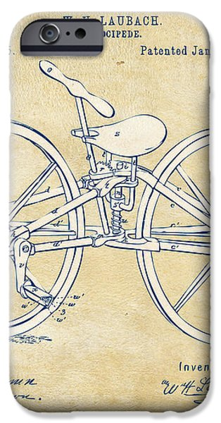 Vintage 1869 Velocipede Bicycle Patent Artwork iPhone Case by Nikki Marie Smith
