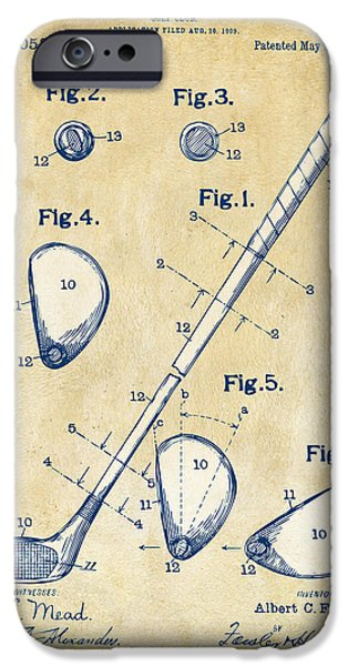 Sectioned iPhone Cases - Vintage 1910 Golf Club Patent Artwork iPhone Case by Nikki Marie Smith
