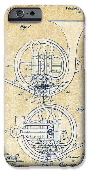 Marching Band iPhone Cases - Vintage 1914 French Horn Patent Artwork iPhone Case by Nikki Marie Smith