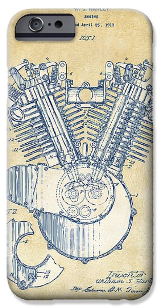 Us Open Drawings iPhone Cases - Vintage 1923 Harley Engine Patent Artwork iPhone Case by Nikki Marie Smith