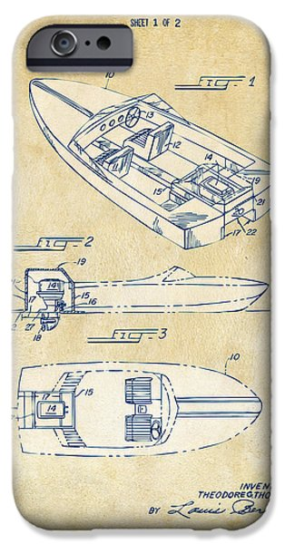 Chris iPhone Cases - Vintage 1972 Chris Craft Boat Patent Artwork iPhone Case by Nikki Marie Smith