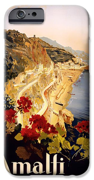 1910s Poster Art iPhone Cases - Vintage Amalfi Travel Poster 1915 iPhone Case by Mountain Dreams