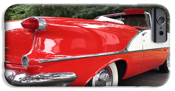 Cards Vintage iPhone Cases - Vintage American Car - Red and White 1955 Oldsmobile Convertible Classic Car iPhone Case by Kathy Fornal