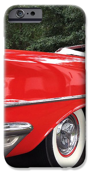 Vintage American Car - Red and White 1955 Oldsmobile Convertible Classic Car iPhone Case by Kathy Fornal