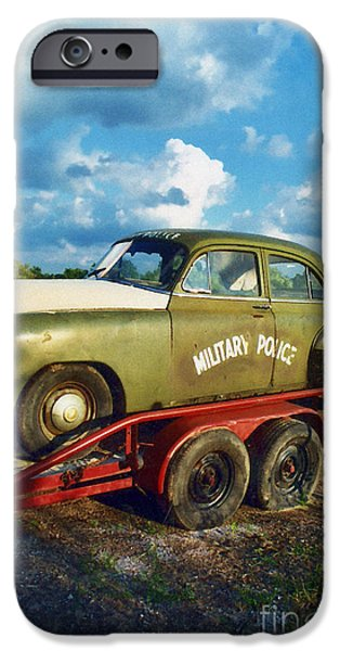 Police Art iPhone Cases - Vintage American Military Police Car iPhone Case by Kathy Fornal