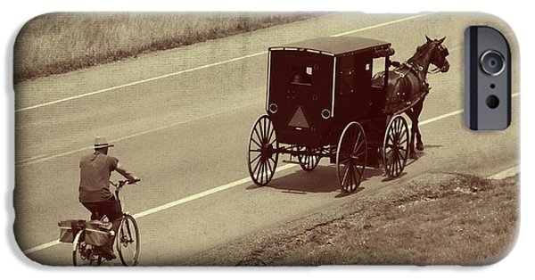 Horse And Buggy Photographs iPhone Cases - Vintage Amish Buggy And Bicycle iPhone Case by Dan Sproul