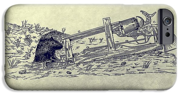 Weapon Mixed Media iPhone Cases - Vintage Animal Trap Patent iPhone Case by Dan Sproul