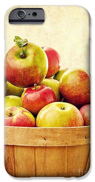 Fruit Basket iPhone Cases - Vintage Apple Basket iPhone Case by Edward Fielding