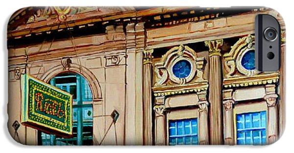 Balcony iPhone Cases - Vintage Architecture-montreal Landmark Building-rialto Theatre iPhone Case by Carole Spandau