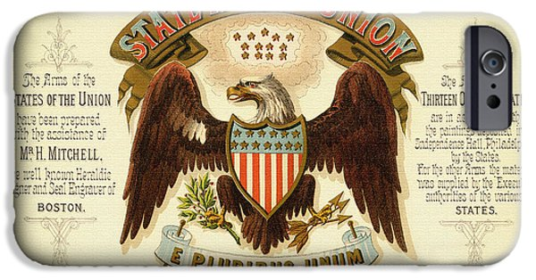Drawing Of Eagle iPhone Cases - Vintage Arms of the United States - 1876 iPhone Case by Mountain Dreams