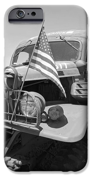 Vetran iPhone Cases - Vintage Army Ambulance in Black and White iPhone Case by Ann Powell