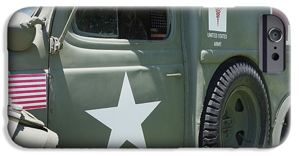 Ambulance iPhone Cases - Vintage Army Ambulance Two  iPhone Case by Ann Powell