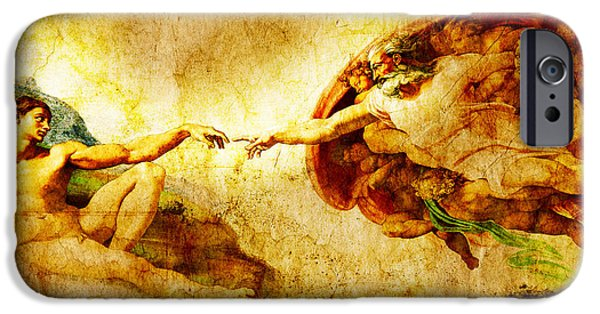 The Church Mixed Media iPhone Cases - Vintage art - the Creation of Adam iPhone Case by Stefano Senise