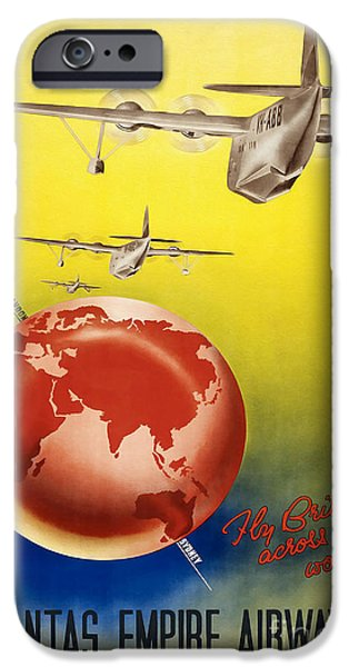 Airways Photographs iPhone Cases - Vintage Australia Travel Poster iPhone Case by Jon Neidert