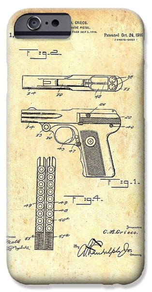 Weapon Drawings iPhone Cases - Vintage Automatic Pistol Patent iPhone Case by Mountain Dreams