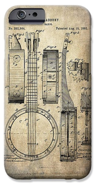Acoustical Digital Art iPhone Cases - Vintage Banjo Patent Drawing iPhone Case by Maria Angelica Maira