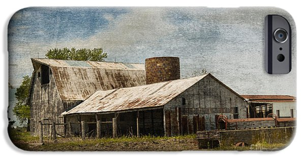 Old Barns iPhone Cases - Barn -Vintage Barn with Brick Silo - Luther Fine Art iPhone Case by Luther   Fine Art