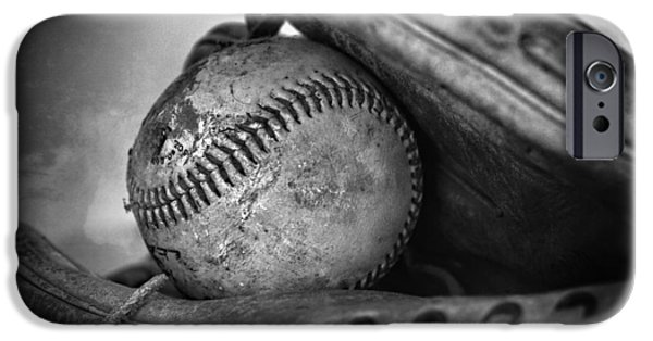 Ball And Glove iPhone Cases - Vintage Baseball And Glove iPhone Case by Dan Sproul