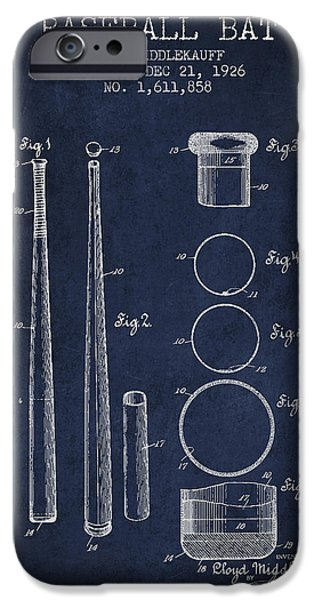 Baseball Gloves iPhone Cases - Vintage Baseball Bat Patent from 1926 iPhone Case by Aged Pixel