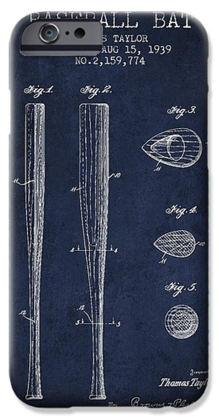 Baseball Gloves iPhone Cases - Vintage Baseball Bat Patent from 1939 iPhone Case by Aged Pixel