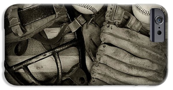 Sports Bar iPhone Cases - Vintage Baseball Equipment iPhone Case by Paul Ward