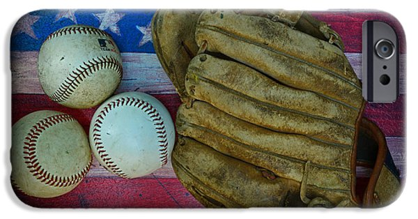 Baseball Glove iPhone Cases - Vintage Baseball Glove and Baseballs on American Flag iPhone Case by Paul Ward