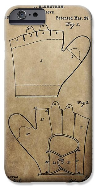Baseball Glove iPhone Cases - Vintage Baseball Glove Patent iPhone Case by Dan Sproul