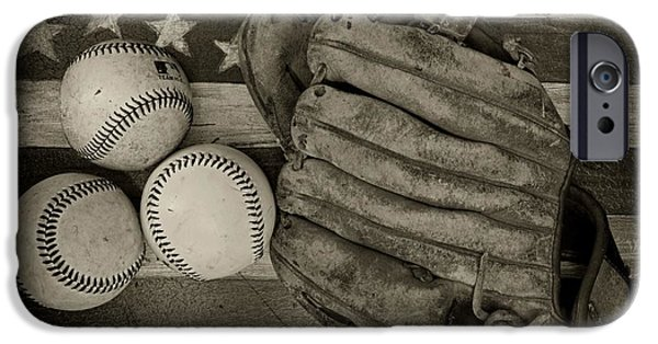 Ball And Glove iPhone Cases - Vintage Baseball Glove iPhone Case by Paul Ward