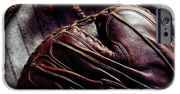 Baseball Glove iPhone Cases - Vintage Baseball iPhone Case by Jon Neidert