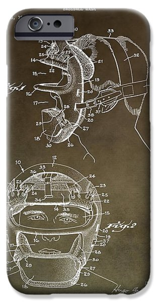 Brave Mixed Media iPhone Cases - Vintage Baseball Mask Patent iPhone Case by Dan Sproul