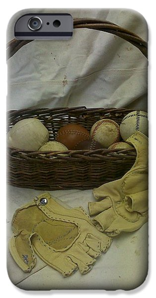 Baseball Glove iPhone Cases - Vintage Baseballs and Home-made Gloves 1879 iPhone Case by Kathy Barney