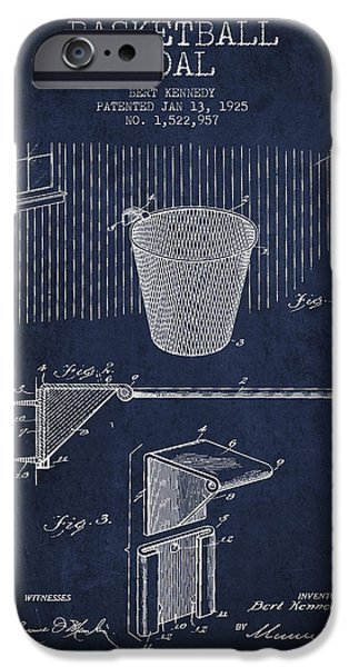 Dunk iPhone Cases - Vintage Basketball Goal patent from 1925 iPhone Case by Aged Pixel