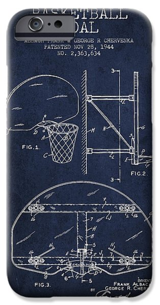 Dunk iPhone Cases - Vintage Basketball Goal patent from 1944 iPhone Case by Aged Pixel
