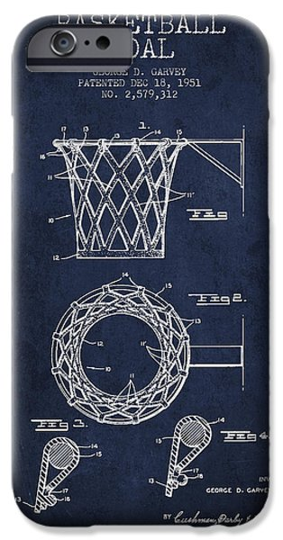Hoops iPhone Cases - Vintage Basketball Goal patent from 1951 iPhone Case by Aged Pixel