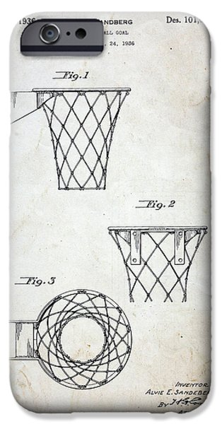 Dribbling iPhone Cases - Vintage Basketball Hoop Patent iPhone Case by Paul Ward