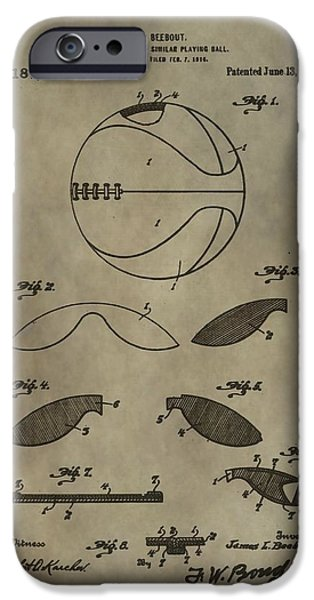 Dunk Mixed Media iPhone Cases - Vintage Basketball Patent iPhone Case by Dan Sproul