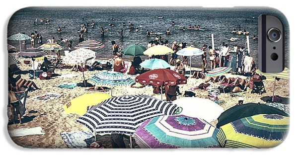 Beach Towel iPhone Cases - Vintage beach iPhone Case by Stefano Senise