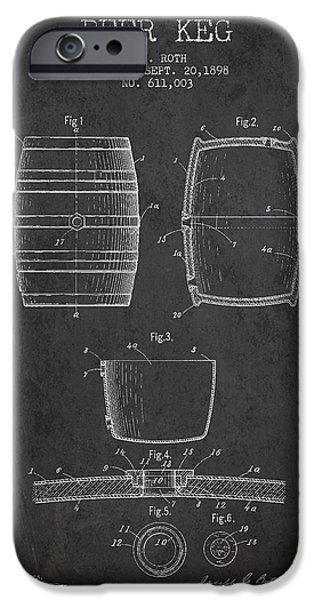 Technical iPhone Cases - Vintage Beer Keg Patent Drawing from 1898 - Dark iPhone Case by Aged Pixel