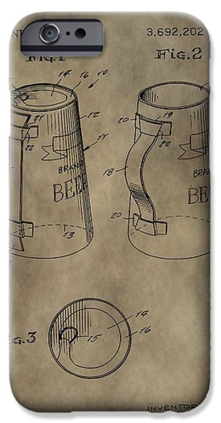 Owner Digital iPhone Cases - Vintage Beer Mug Patent iPhone Case by Dan Sproul