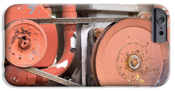 Mechanism iPhone Cases - Vintage belt driven engine gear wheels iPhone Case by Stephan Pietzko