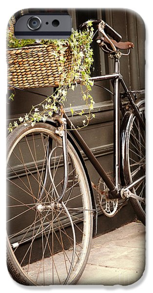 Basket iPhone Cases - Vintage bicycle iPhone Case by Jane Rix