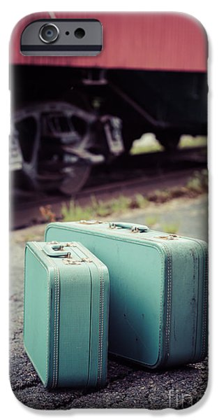 Caboose Photographs iPhone Cases - Vintage blue suitcases with red caboose iPhone Case by Edward Fielding