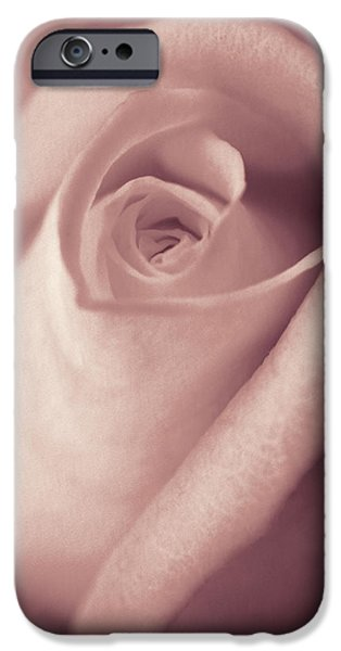 Monotone iPhone Cases - Vintage Blush Pink Rose Bud Flower iPhone Case by Jennie Marie Schell