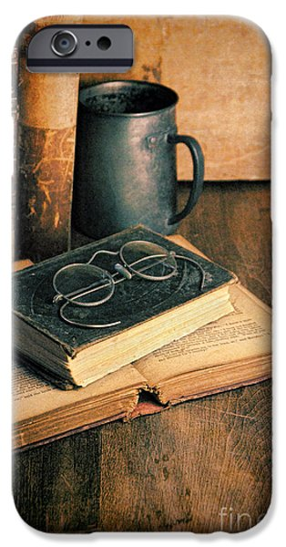 Tankard iPhone Cases - Vintage Books and Eyeglasses iPhone Case by Jill Battaglia