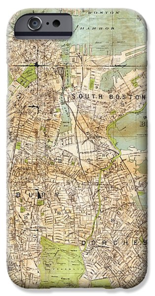 Boston Ma iPhone Cases - Vintage Boston Map  iPhone Case by Joann Vitali
