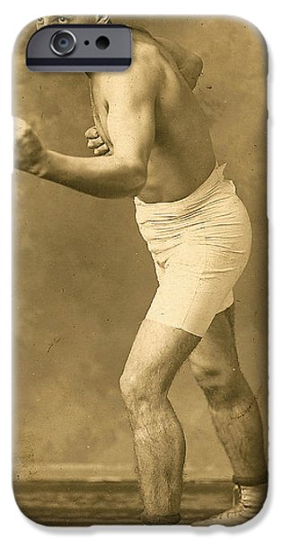 Champ Boxer iPhone Cases - Vintage Boxer 1 iPhone Case by Francis  Chapman